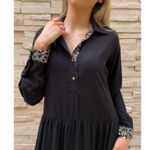 Tiered Shirtdress Black with Cheetah trim