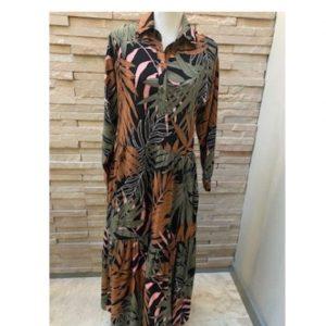 Tiered Shirtdress Olive, Rust & Black botanical