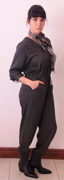 2020 Jumpsuit Dark Olive wearng scarf side