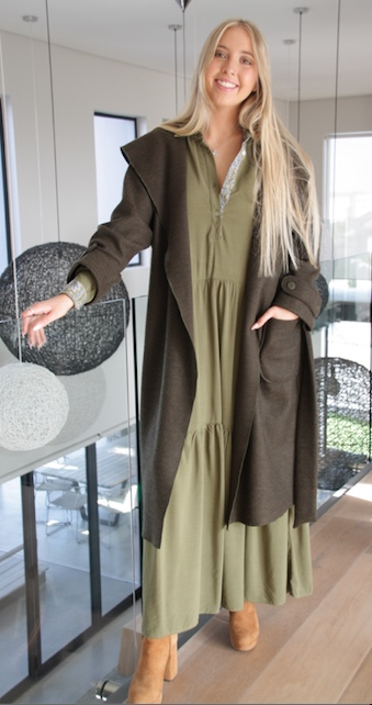 2021 Winter Coat Olive Open with Shirtdress