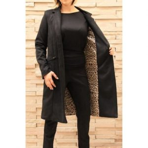 Longline Black sueded Coat w Cheetah