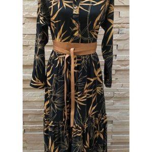 Tiered Shirtdress Black with Bronze Leaf print
