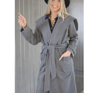 Wrap Coat Grey Melton