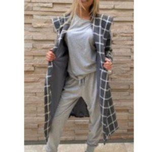 Wrap Coat Grey & White Check Melton