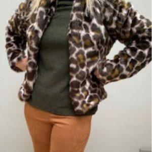 Choc Leopard faux Fur Jacket