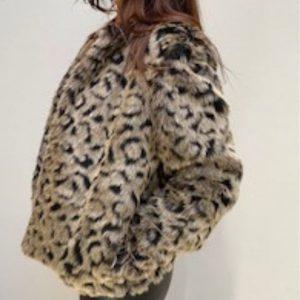 Brown Leopard faux Fur Jacket