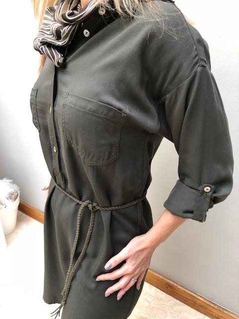 2018 Winter Shirtdress Green twill belted & scarf