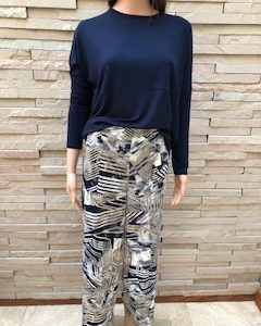 Wide Leg Pant Taupe & Navy Abstract