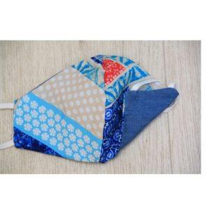Teen Mask Denim & Red/Blue blockprint