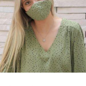 Ladies Mask Olive & Black spots
