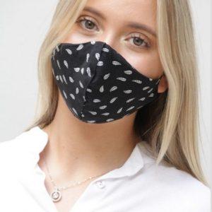 Teen Mask Black & White leaf print