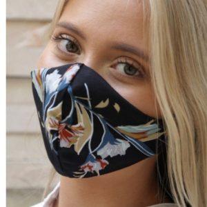 Ladies Mask Black with Floral print - brown, white & blue