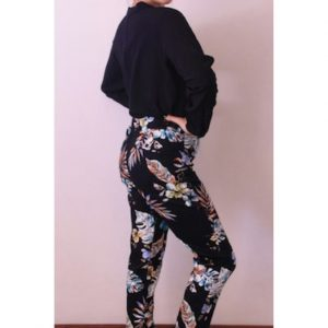 Slimpant Black, White & Amber Leaf print