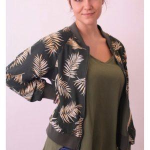 Bomber Jacket Olive & Beige Leaf print