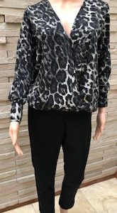 Cross Blouse Charcoal Leopard