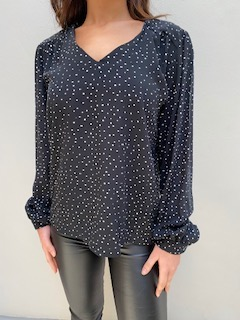 AW19 V Neck Blouse B & W front