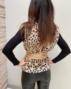 AW21 Fur Cheetah body warmer belted back