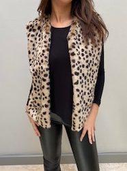 AW21 Fur Cheetah body warmer loose