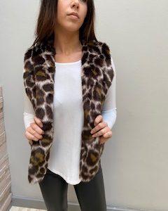 AW21 Fur Choc Leopard Body warmer