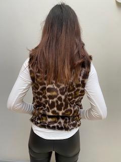 AW21 Fur Choc Leopard Body warmer back