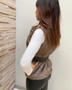 AW21 Fur Fawn body warmer belted side