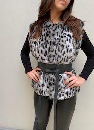 AW21 Fur Grey Leopard body warmer belted