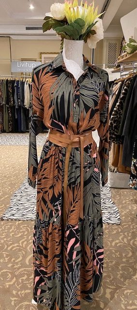 AW21 Tiered Shirtdress Olive, Rust print