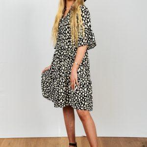 SS21 Ruffle Dress B & W Dalmatian and B&W sandals