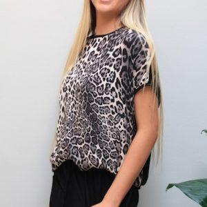 Blouson Top Tan Leopard
