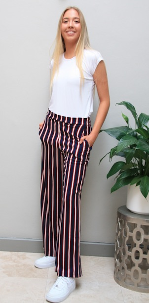 2021 Summer Navy, Red & White Striped Pant w White T