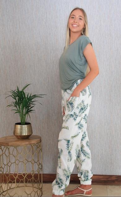 2021 Summer White & Green Leaf Cuff Pant & Sage T side