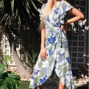 2021 Summer Wrapdress Olive in garden