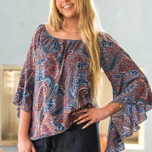 Flare Sleeve Indigo & Coral Paisley print Blouse