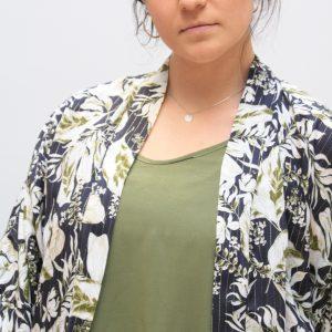 Short Kimono Olive print with Gold thread