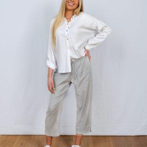 Cropped Pant Grey Linen rayon