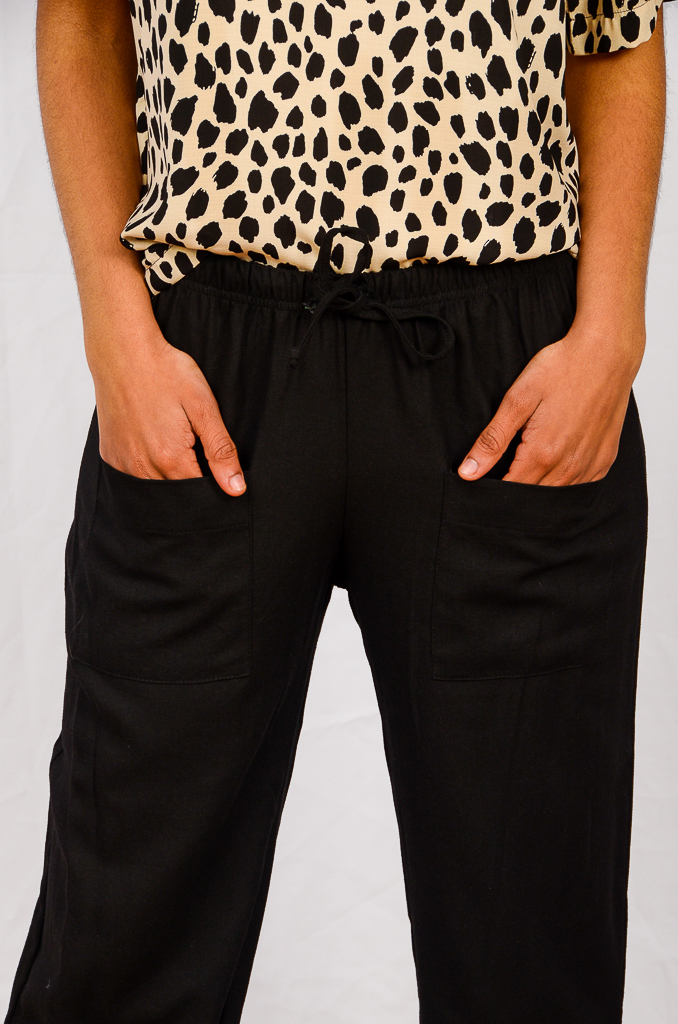 SS21 Black Cropped Pant close up of pockets
