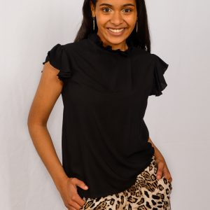 SS21 Black Frill Blouse front close – to crop