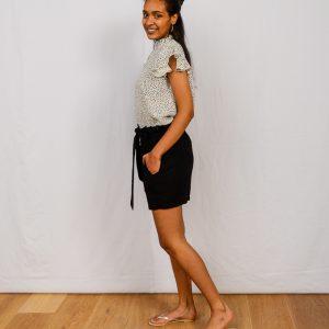 SS21 Black Paperbag Shorts side & spot Frill blouse