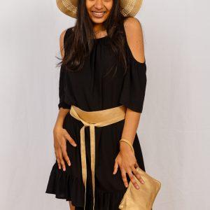 SS21 Boho Dress Black styled in studio