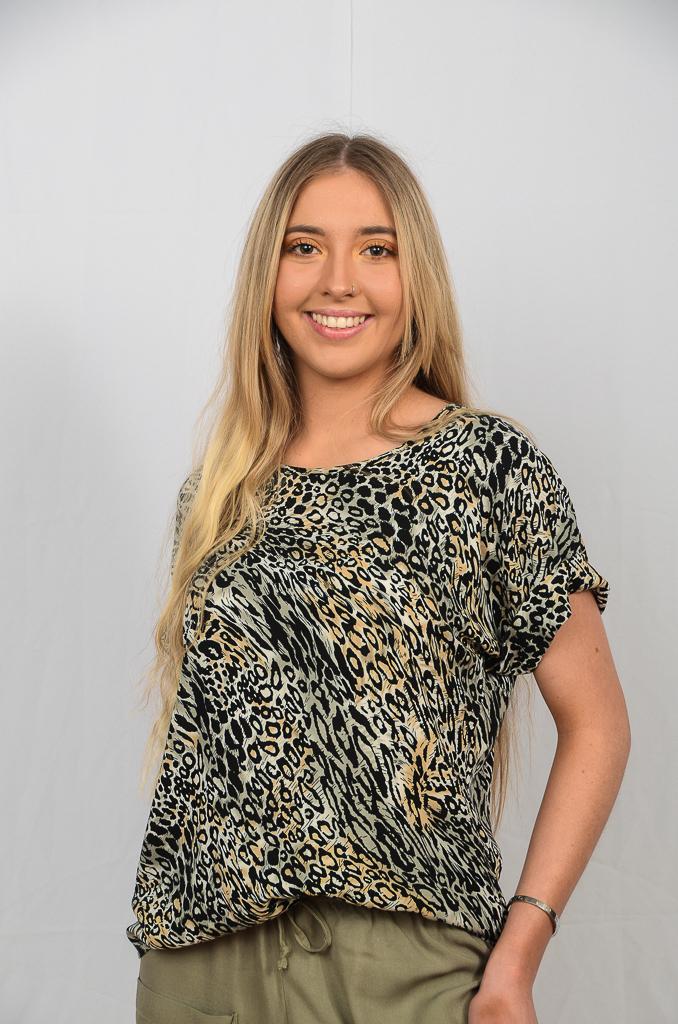 SS21 Boxy Top Sage cheetah