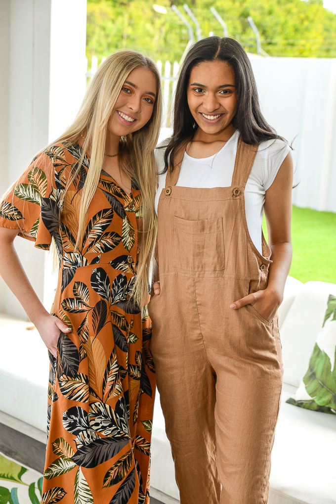 SS21 Brown :Latte Combo – A line dress & Dungaree knee up