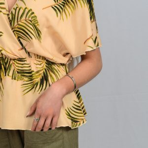 SS21 Cross Blouse Peach & Fern Leaf & Olive Crop Pant close up