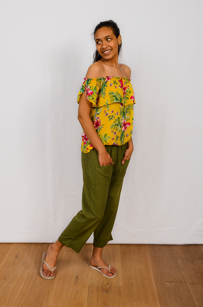 SS21 Frill Top Mustard & Olive Crop Pant side