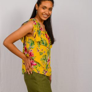 SS21 Frill Top Mustard out over Olive Crop