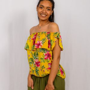 SS21 Frill Top mustard tucked in close up