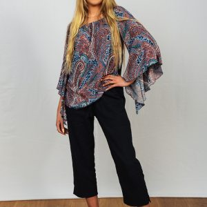 SS21 Indigo & Coral Flare & Navy Cropped Pant full