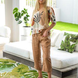 SS21 Latte Crop Pant & V neck Retro blouse