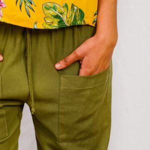 SS21 Olive Cropped Pant pocket