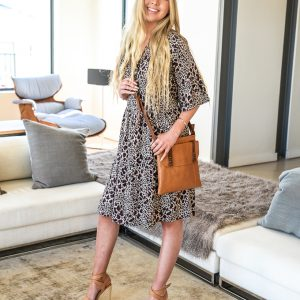 SS21 Ruffle Dress Cheetah Brown w Bag