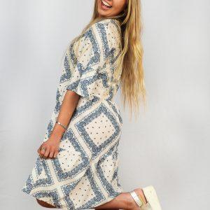 SS21 Ruffle Dress White & Blue side